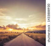 straight road through the field ... | Shutterstock . vector #1433888930