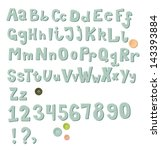 chunky sew on alphabet and... | Shutterstock .eps vector #143393884