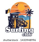 beach wood house of surfing... | Shutterstock .eps vector #1433948996