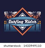 surfboard palm vintage abstract ... | Shutterstock .eps vector #1433949110