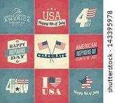 a set of nine vintage greeting... | Shutterstock .eps vector #143395978