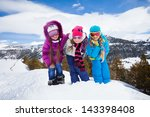 group of three kids  girls... | Shutterstock . vector #143398408