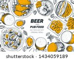 pub food and beer vector... | Shutterstock .eps vector #1434059189