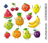 cartoon funny fruits. happy... | Shutterstock . vector #1434060803