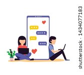 virtual relationship  online... | Shutterstock .eps vector #1434077183