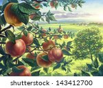 Summer Landscape With Apples...