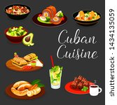 cuban cuisine meat and... | Shutterstock .eps vector #1434135059