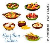brazilian cuisine meat and... | Shutterstock .eps vector #1434143363