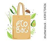 zero waste concept. eco bag... | Shutterstock .eps vector #1434173426