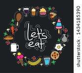 delicious food circular frame... | Shutterstock .eps vector #1434185390