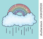 clouds rainy sky with rainbow... | Shutterstock .eps vector #1434190520