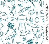 seamless pattern with grill and ... | Shutterstock .eps vector #1434200336