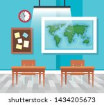 classroom with global map and... | Shutterstock .eps vector #1434205673