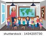 woman teacher with girls and... | Shutterstock .eps vector #1434205730