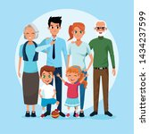 family grandparents parents and ... | Shutterstock .eps vector #1434237599