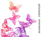 Stock vector amazing colorful background with butterflies painted with watercolors vector illustration 143424169