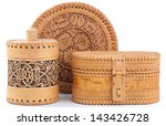 Birch Bark Boxes Isolated On A...