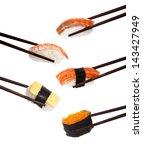 japanese nigiri sushi isolated... | Shutterstock . vector #143427949