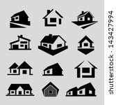 vector house silhouette icons | Shutterstock .eps vector #143427994