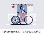 pretty girl on roadbike vector... | Shutterstock .eps vector #1434284243