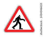 Stock vector attention bigfoot caution yeti red triangle road sign 1434346610