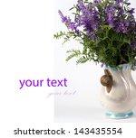 blue flower on a white...   Shutterstock . vector #143435554