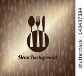 cutlery old over bronze... | Shutterstock .eps vector #143437384