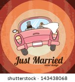 just married car  over grunge... | Shutterstock .eps vector #143438068