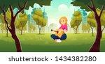 recreation and enjoying music... | Shutterstock .eps vector #1434382280