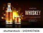 whiskey bottle and glass mockup.... | Shutterstock .eps vector #1434407606