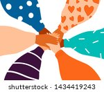 six female hands support each... | Shutterstock .eps vector #1434419243
