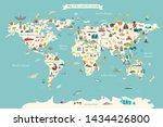 landmarks world map vector... | Shutterstock .eps vector #1434426800
