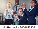 smiling group of diverse... | Shutterstock . vector #1434439550