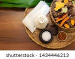 herbs ingredients in bamboo... | Shutterstock . vector #1434446213