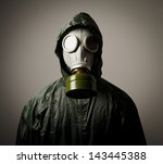 man wearing a gas mask on his... | Shutterstock . vector #143445388