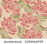 coloured seamless floral... | Shutterstock .eps vector #1434464939