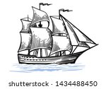 black and white sketch of... | Shutterstock .eps vector #1434488450
