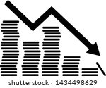 downward trend icon. coins with ... | Shutterstock .eps vector #1434498629
