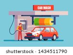 Vector of a man in an uniform washing red car with soap and water.