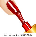 polish on the nails  on white... | Shutterstock .eps vector #143455864