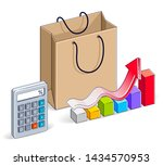 shopping bag with calculator... | Shutterstock .eps vector #1434570953