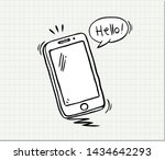 hand drawn of smart phone  .... | Shutterstock .eps vector #1434642293