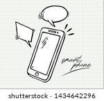 hand drawn of smart phone  ....   Shutterstock .eps vector #1434642296