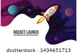 rocket launch and space... | Shutterstock .eps vector #1434651713