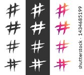 hashtag vector hand drawn icons ... | Shutterstock .eps vector #1434685199