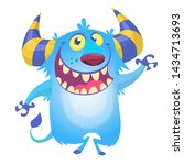 Stock photo cute fluffy blue monster yeti bigfoot character 1434713693