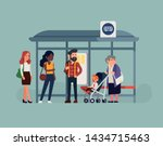 people waiting their bus at bus ... | Shutterstock .eps vector #1434715463