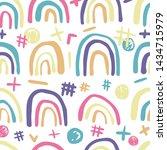 cute rainbows seamless pattern ....   Shutterstock .eps vector #1434715979