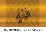 tiger in thai tradition style... | Shutterstock .eps vector #1434724739