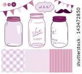 glass jars  frames and cute... | Shutterstock .eps vector #143472850